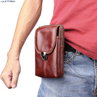 6 3inch Men Genuine Leather Waist Belt Double Zipper Wallet Cell Mobile Phone Pocket Cigarette Key