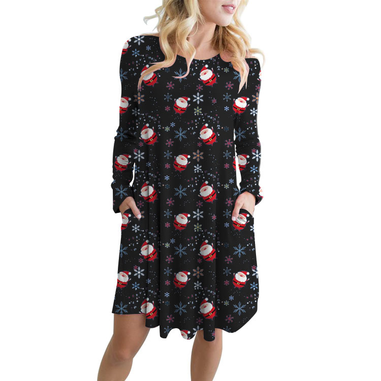 2018 christmas dress cartoon casual plus size loose women dresses autumn long sleeve female clothes european style o neck in Dresses from Women 39 s Clothing