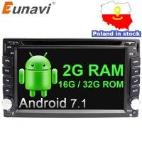 Eunavi Quad Core Universal Autoradio Multimedia 2Din Android 7.1 8.1 Car Radio Dvd Player Stereo Gps Navi+wifi+bluetooth In Dash