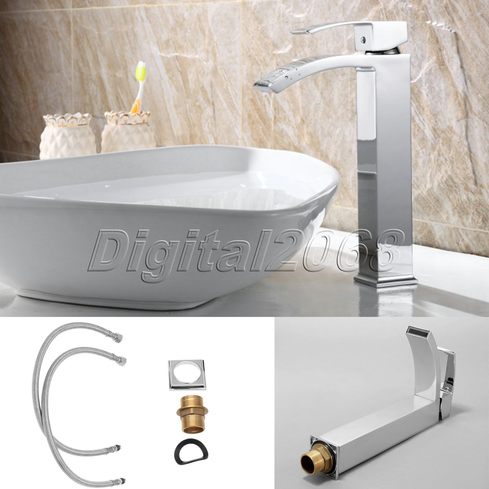 Ceramic Valve Spout Brushed Nickel Kitchen Faucet Bathroom Basin Faucet Vessel One Hole Handle