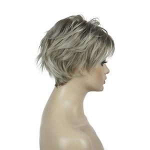 Image 3 - Strong beauty perruque Hai synthétique courte et lisse pour femmes, sans fil, perruque Blonde/noire, 11 couleurs