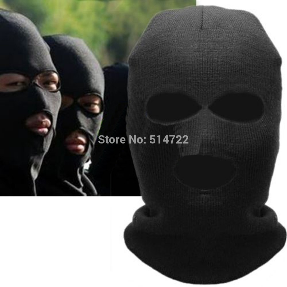 2018 Fashion Full Face Cover Mask Three 3 Hole Balaclava Knit Hat Winter  Stretch Snow mask Beanie Hat Cap 4eb6e010a17