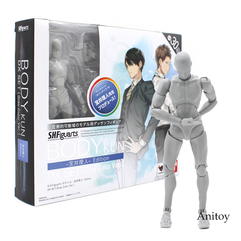 Anime SHFiguarts BODY KUN / CHAN DX SET Gray Color Ver. PVC Action Figure Collectible Model Toy 14cm 2 Styles original high quality body kun takarai rihito body chan mange drawing figure dx bjd gray color pvc action collectible model toy