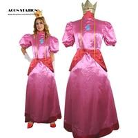 O envio gratuito de rosa super mario bros dress peach princess dress adulto criança traje cosplay para o dia das bruxas natal