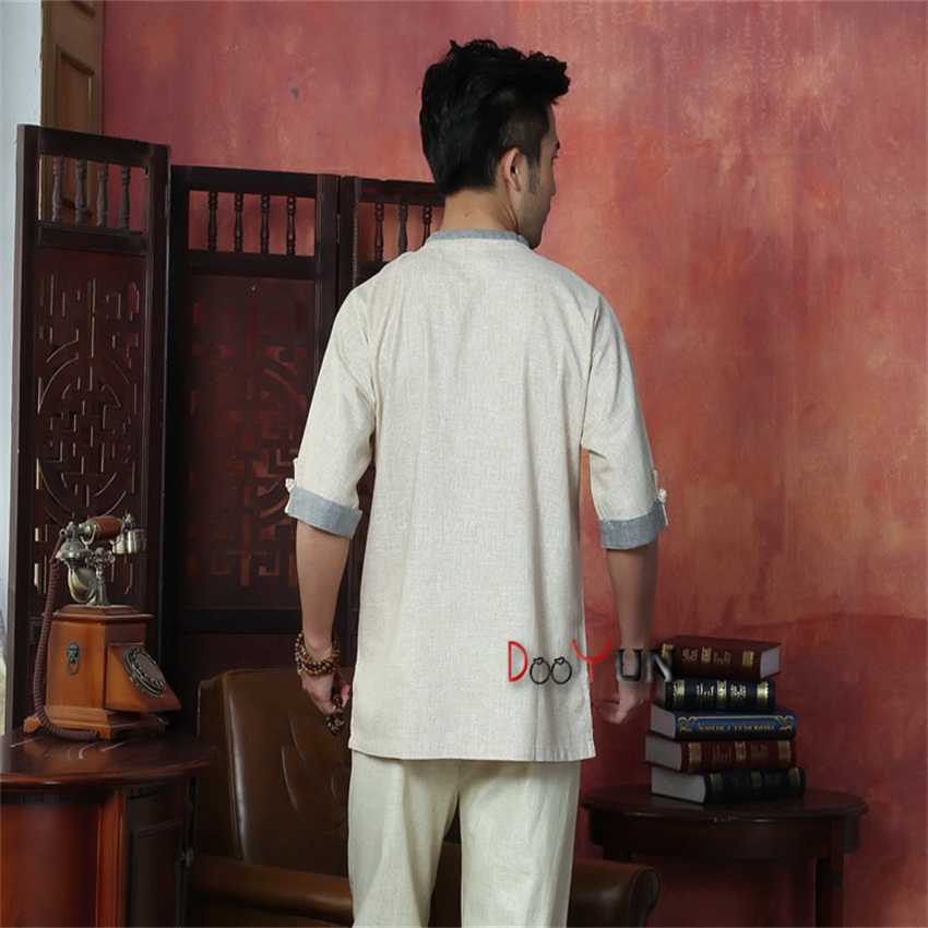 Spring Toys Gray Mens Linen Shirt Top Chinese Classic Kung Fu Clothing Short-sleeve Vintage Tang Suit Free Shipping S To Xxxl Shirts