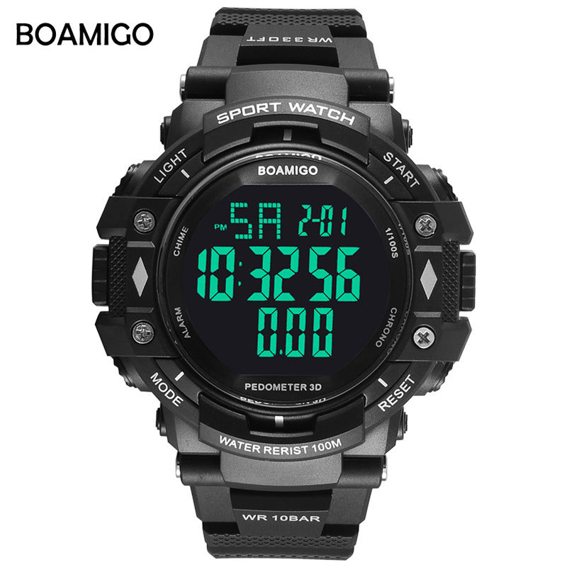 BOAMIGO Sport Watch Men Digital Fitness 10Bar Waterproof Chronograph Wristwatch Swimming Running Watch Fashion High Quality New