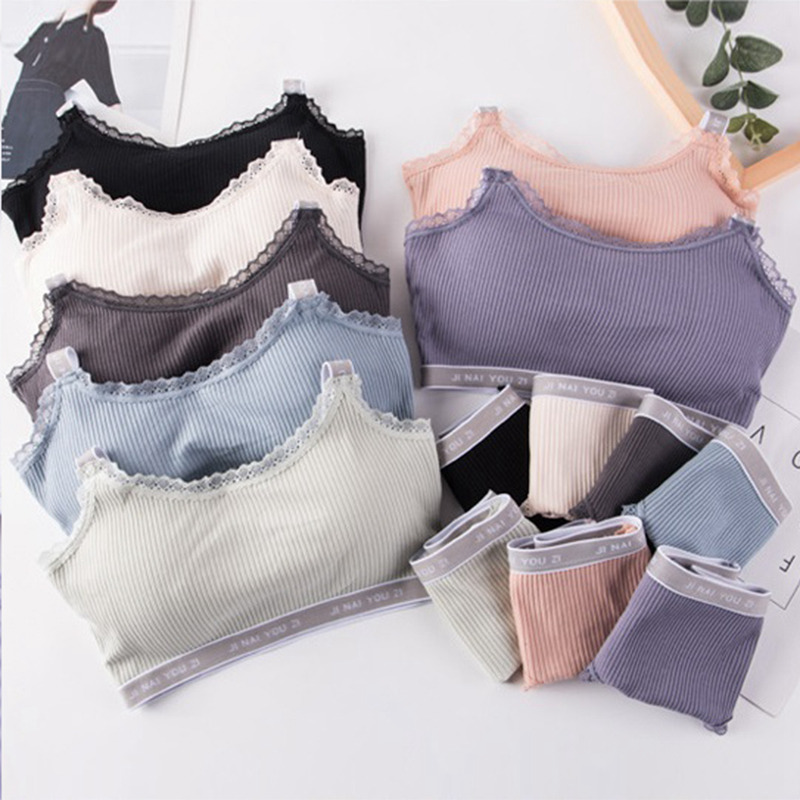 Women   Bra     Set   Letter Print Female Underwear Comfortable Wireless Lingerie   Bra     Set   Black White Cotton Full Cup   Bras     Sets