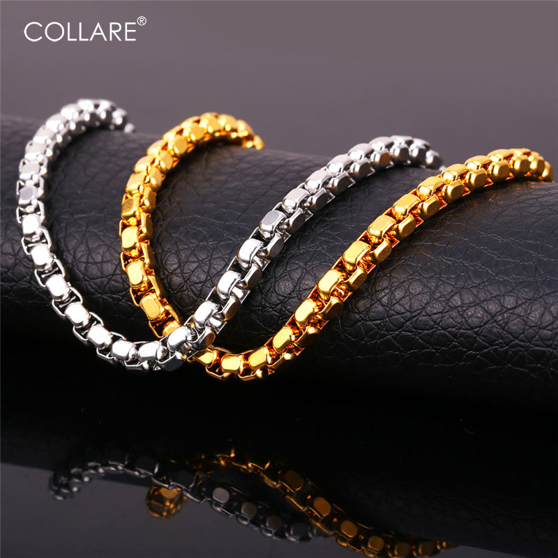Collare Box Link Chain For Men Rose Gold/Black Gun/Gold Color Stainless Steel Chain Necklace Wholesale Men Jewelry N219
