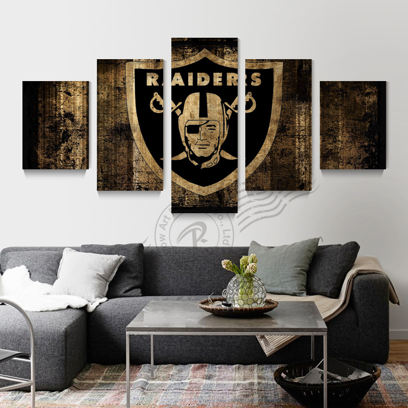 5 Panel Oakland Raiders Sport Flag Canvas Poster Painting On Rhaliexpress: Canvas Home Decor At Home Improvement Advice