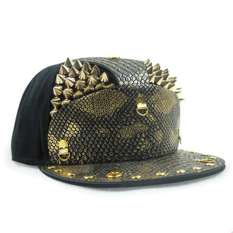 New Snakeskin Armor Golden Rivets Gorras Snapback Hat Male Outdoor Street  Hip Hop Cap 5 Panels Baseball Cap Horse Bone Aba Reta-in Baseball Caps from  ... 0c5f7d9b90e