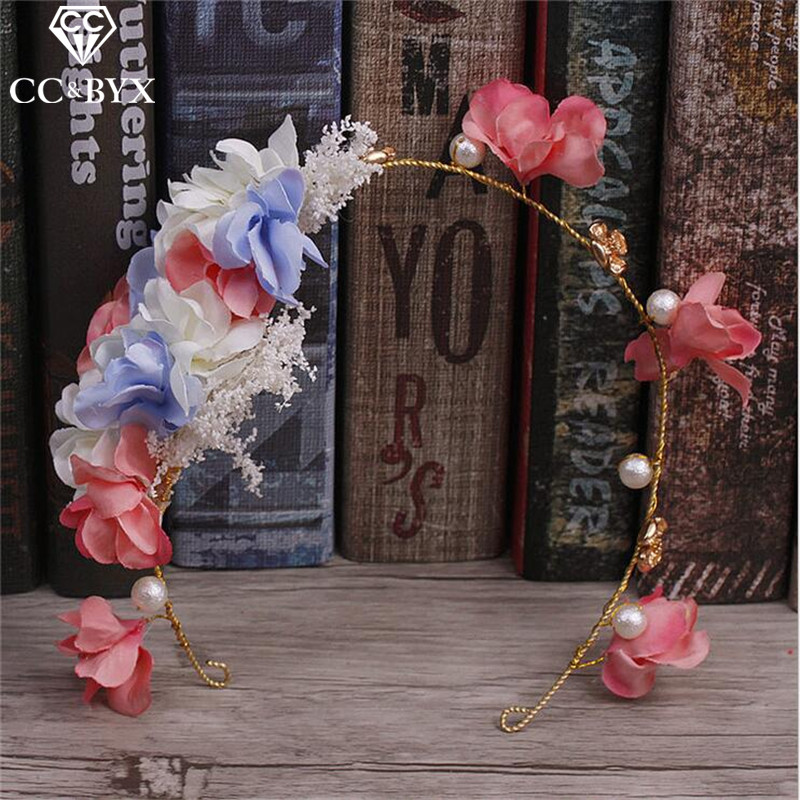 CC Jewelry Handmade Romantic Flower Hairbands Crowns For Beauty Wedding Decorations For Women Bridal Hair Accessories Beads 8408