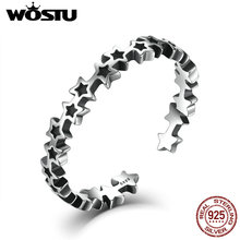 WOSTU 100% 925 Sterling Silver Stackable Stars Open Finger R