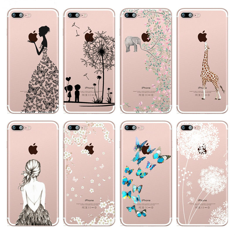 Elephant Butterfly Dandelion Patterned Soft Silicone TPU Phone Case Cover For iphone 7 8 6 6s Plus 5 5s SE X Xs XsMax Xr Coque marvel glass iphone case