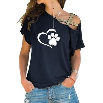 2018 T-shirt Women Fashion Dog Cat Paw Heart Plus Size Tshirt Tops Punk Harajuku  Cross-shoulder Irregular Short-sleeved T-shirt