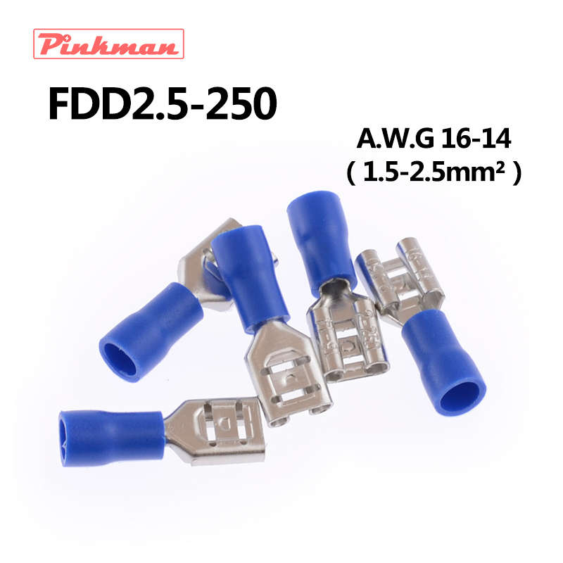 цена на FDD2-250 Female Insulated Electrical Crimp Terminal for 1.5-2.5mm2 Connectors AWG 16-14 Cable Wire Connector FDD2.5-250