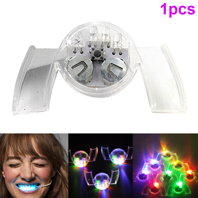 LED Flashing Light Mouth Guard Piece Glowing Tooth Toy Halloween Party Props BM88