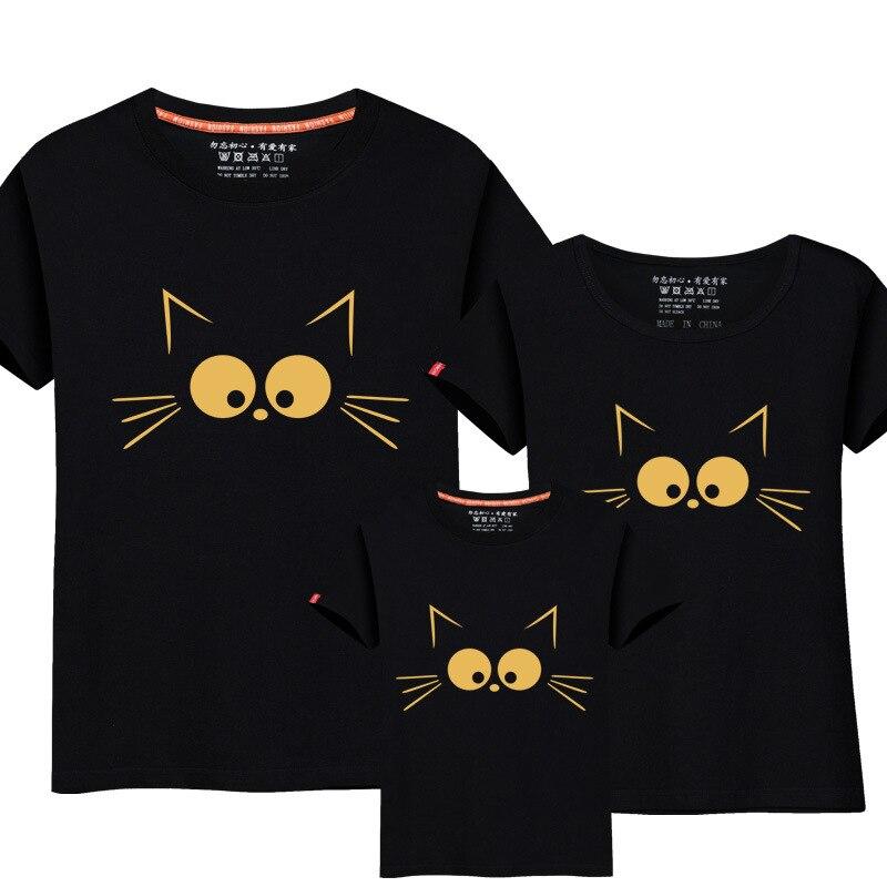 1 Pièce Correspondant Mère Fille Vêtements Mignon Chat Impression Famille Look Famille Correspondant Parent-enfant Outfit Ma e Filha maman T-shirts