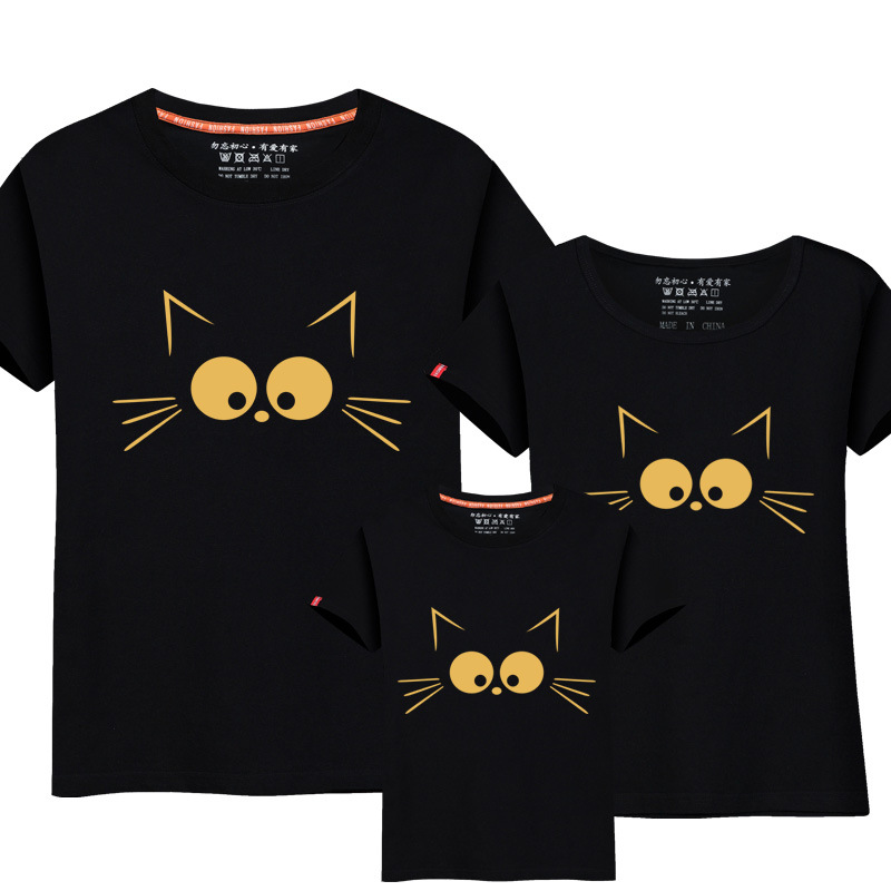 1Posce Matching Mother Daughter Clothes Cute Cat Print Family Look Familie Matchende Parent-Child Outfit Ma e Filha Mommy T-skjorter