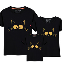 1Piece Matching Mother Daughter Clothes Cute Cat Print Family Look Parent-child Outfit Ma e Filha Mommy T-shirts