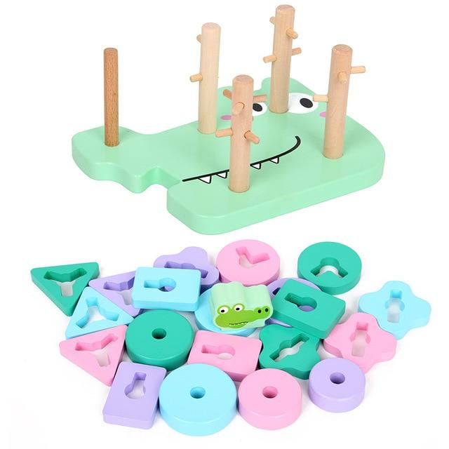 DIY creativo de madera Montessori Aprendizaje a juego forma de dibujos animados cocodrilo educación temprana juguetes regalos para niños bebé