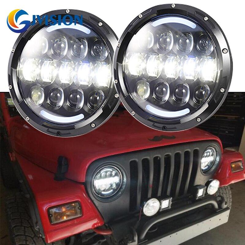 7 круглые лампы 105 Вт Привет/Lo двойной Луч Водонепроницаемый светодиодными фарами дневного света DRL для Jeep Вранглер JK и TJ Харлей Дэвидсон