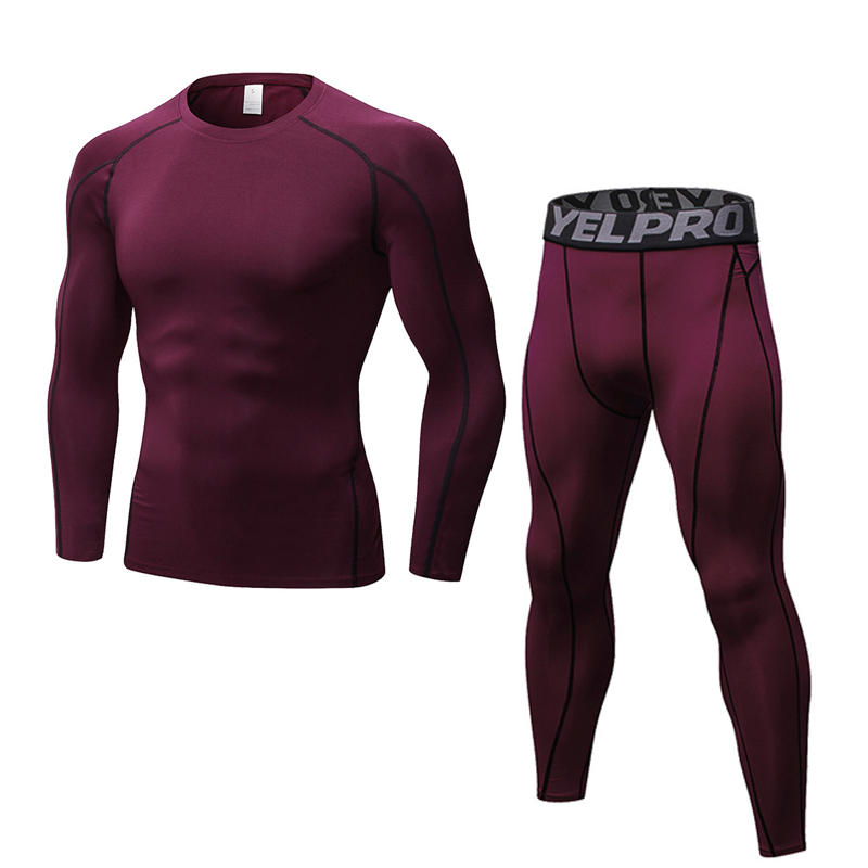 New Dry Fit Compression Tracksuit Fitness Tight Running Set Long Sleeve T-shirt + Legging Pants Sportswear Black Gym Sport Suit