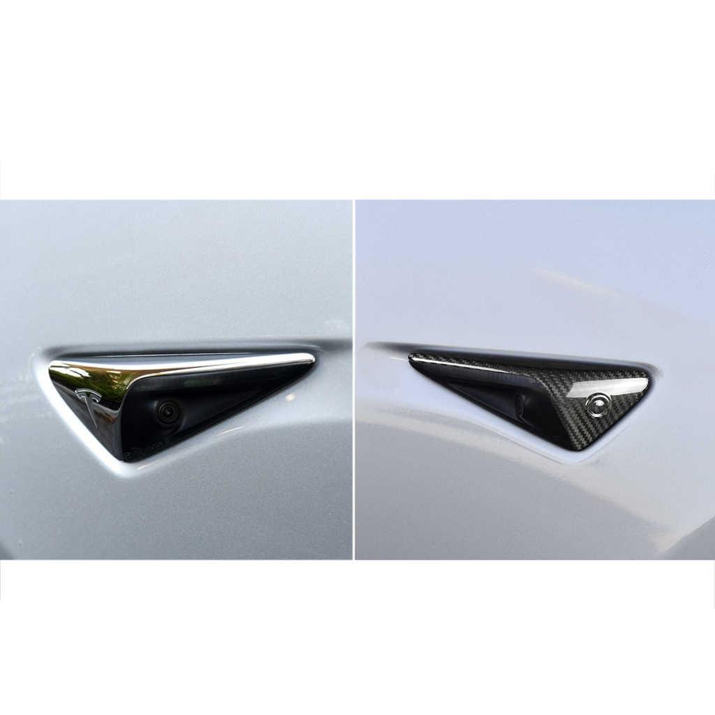 Высокое качество 2 шт. сухое углеродное волокно 16*5,5*3 мм боковая камера крышка поворотного сигнала автопилот для Tesla модель 3 для автомобильных аксессуаров Новинка