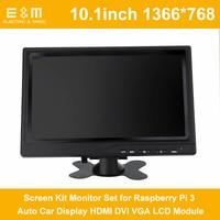 E&M 10.1 Inch 1366*768 Screen Kit Monitor Set for Raspberry Pi 3 Auto Car Display HDMI DVI VGA LCD Module 1080P HD