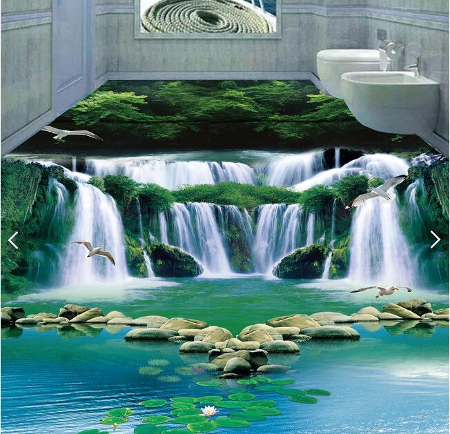 3d pvc flooring custom mural picture 3d Dream waterfall