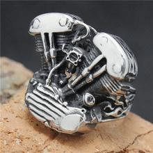 2015 Cool 316L Stainless Steel Silver Biker Engine Ring Mens Motorcycle Biker Engine Band Party Ring