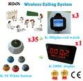 Restaurante sem fio Chamando Sistema de Serviço K-2000C Display + Relógio + K-M K-300plus Chamada Conjunto Completo (1 display + 3 assistir + 35 botão de chamada)
