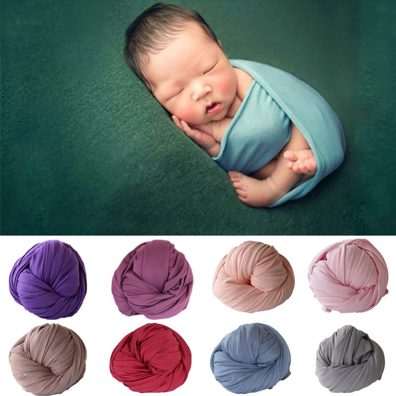 50*150cm Stretch Cotton Baby Blanket Newborn Photo Props Photography Wraps Swaddle Muslin Wraps Infant Photography Props цена