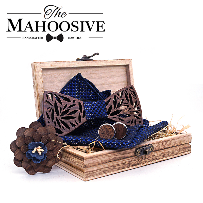 MAHOOSIVE Paisley Wooden Bow Tie Handkerchief Set Men's Plaid Bowtie Hollow
