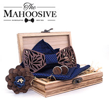 Paisley Wooden Bow Tie Handkerchief Set Men's Plaid Bowtie Wood Hollow carved cut out Floral design And Box Fashion Novelty ties(China)