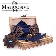 Paisley madera pajarita pañuelo Set hombres's pajarita de cuadros madera hueco tallado diseño Floral y caja de moda novedad corbatas