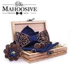 Пейсли деревянный лук галстук носовой платок комплект Для мужчин; клетчатая галстук-бабочка дерево полые резные вырезами цветочный