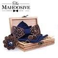 Paisley gravata borboleta de madeira conjunto de lenço xadrez masculino laço oco madeira esculpida cortar design floral e caixa moda novidade laços