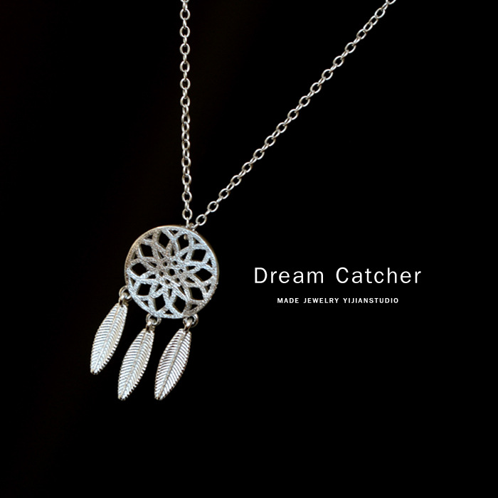 Dream catcher feather 925 sterling silver necklaces pendants for dream catcher feather 925 sterling silver necklaces pendants for women fashion dreamcatcher necklace girl jewelry gifts in pendant necklaces from jewelry aloadofball Choice Image