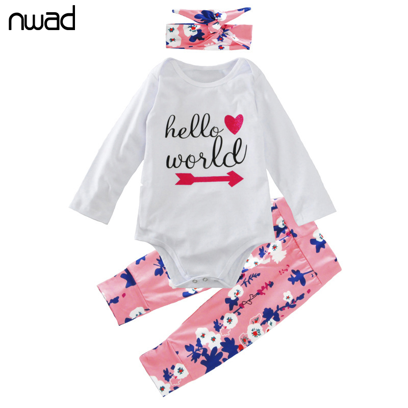 NWAD New Baby Girl Clothes Fashion Flower Print Clothing Suit For Baby Girls Clothes Set Infant Clothing With Headband FF285