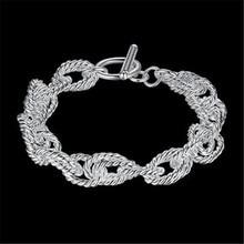 Fashion Europe Elegant Lady 925 Silver Bracelet Full Twist Wave TO Bracelet