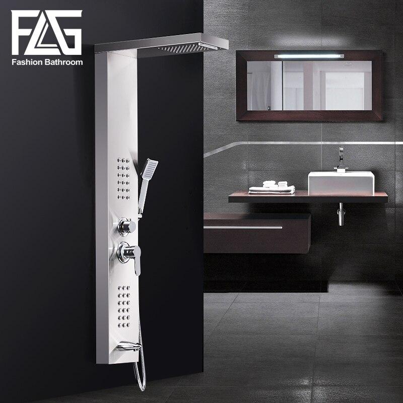 FLG Shower Wall Panels Brushed Nickel Rain Waterfall Shower Panel ...