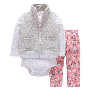 Image 5 - 秋の女服ハート柄コート & ジャケット + 手紙ロンパース + パンツ3枚の衣類のセット6 24m bebesの少年少女の衣装