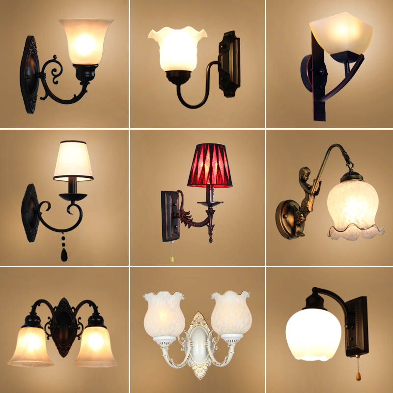 European style retro iron art living room bedroom bedside Mirror front lamp aisle staircase wall lamp