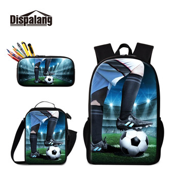 Soccers Backpack Pattern Cool Sporty Insulated Cooler Bag Schoolbag Footballs Lunch Box for Boys Casual Satchel for Children