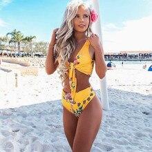 PREETEE 2018 Yellow High Waist Bikini Push Up Swimwear Sexy Deep V Bandage Bikinis Print Biquini Mulher Swimming Bathing Suit