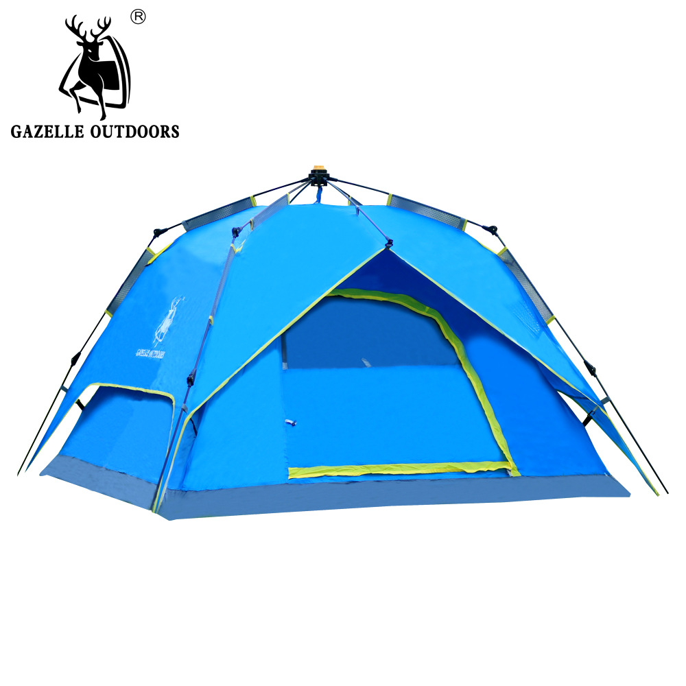 Outdoor Automatic 3-4 person tents camping hiking tent Quick Automatic Opening Waterproof Double Layer Picnic tent hewolf 2persons 4seasons double layer anti big rain wind outdoor mountains camping tent couple hiking tent in good quality