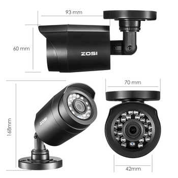 ZOSI 720P/1080P HD-TVI CCTV Security Camera ,3.6mm Lens 24 IR LEDs,65ft Night Vision ,Outdoor Whetherproof Surveillance Camera