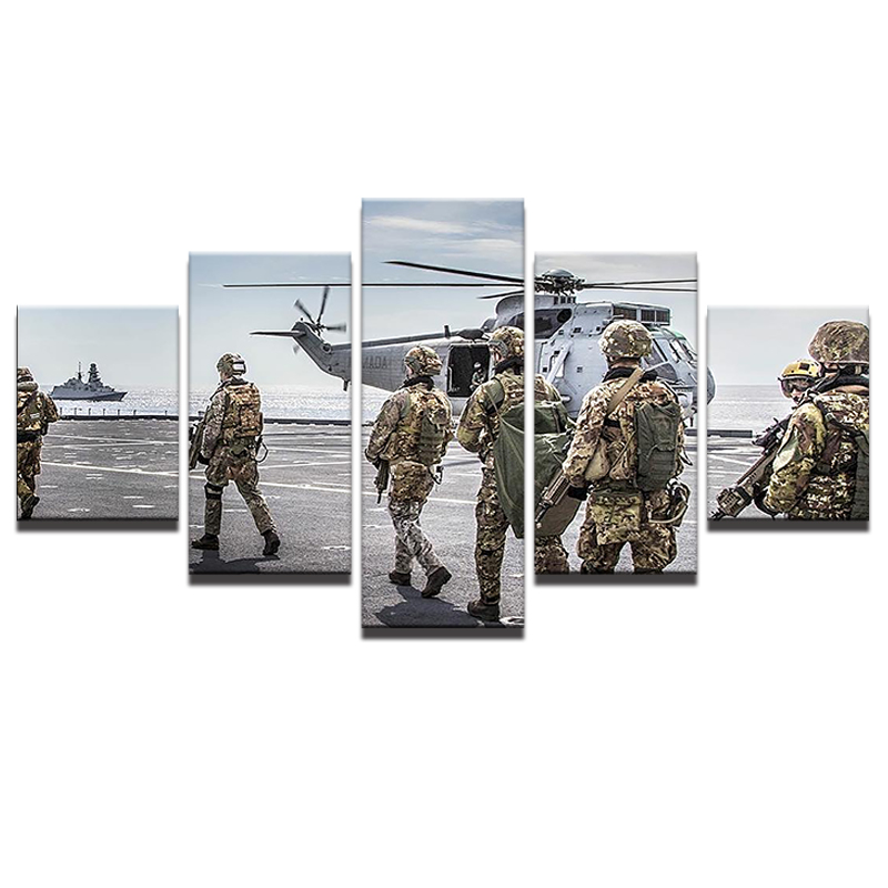 Paintings 5 Panel Military Aircraft Canvas Modern Frames Painting ...