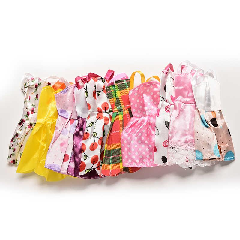 10 قطعة أنماط مختلطة فستان مصنوع يدويا فستان دمية صغيرة للدمى فساتين حفلة ضئيلة الملابس