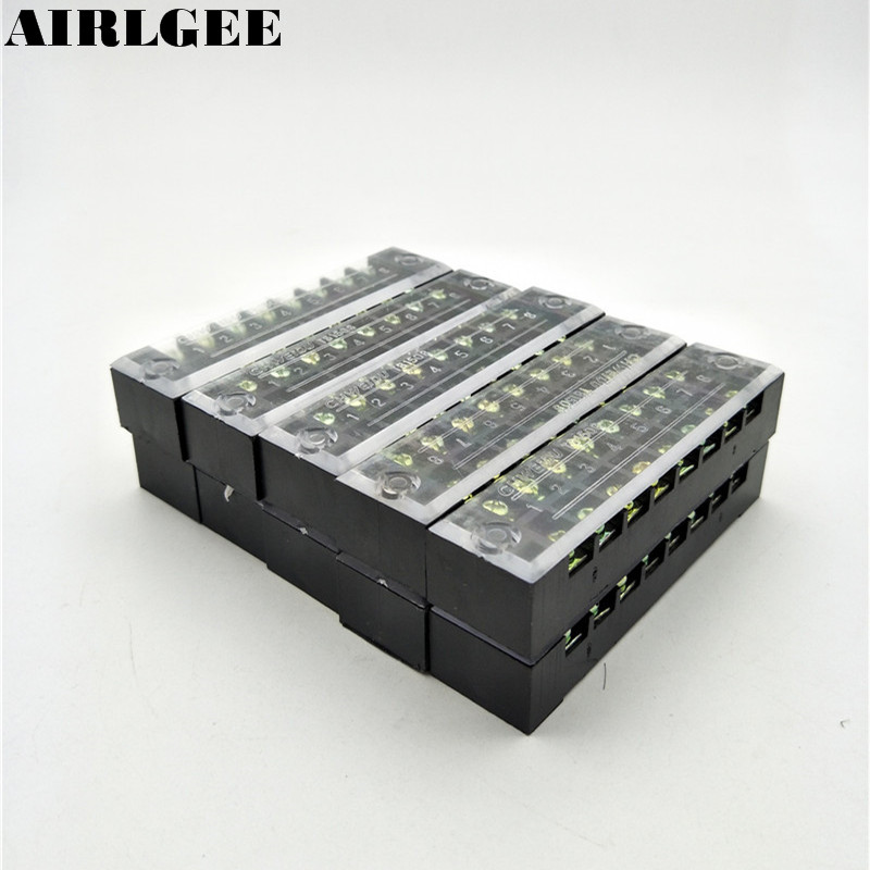 600V 15A Dual Row TB1508 8P Screw Connector Electric Barrier Terminal Block Strip 10Pcs 5 pcs 400v 20a 7 position screw barrier terminal block bar connector replacement